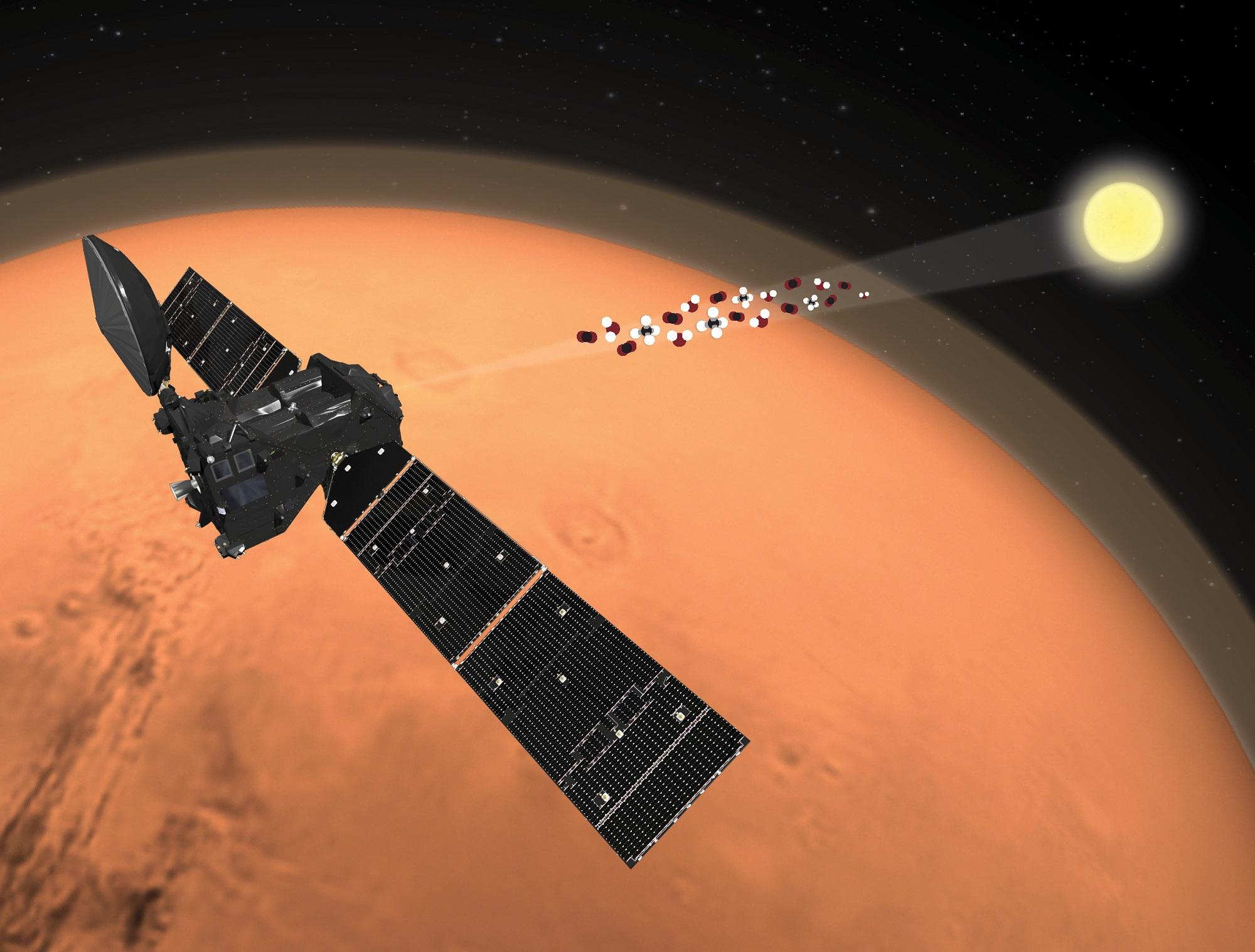 ExoMars Trace Gas Orbiter måler sporgasser og vann på Mars. Illustrasjon: ESA/ATG medialab