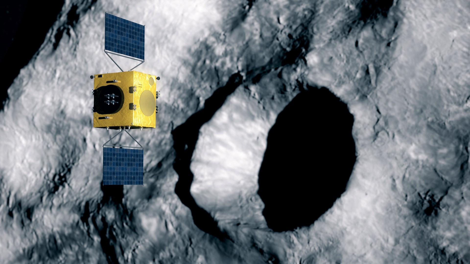 Hera skal undersøke effekten av å dytte til den lille asteroiden Dimorphos med romfartøyet DART. Illustrasjon: ESA