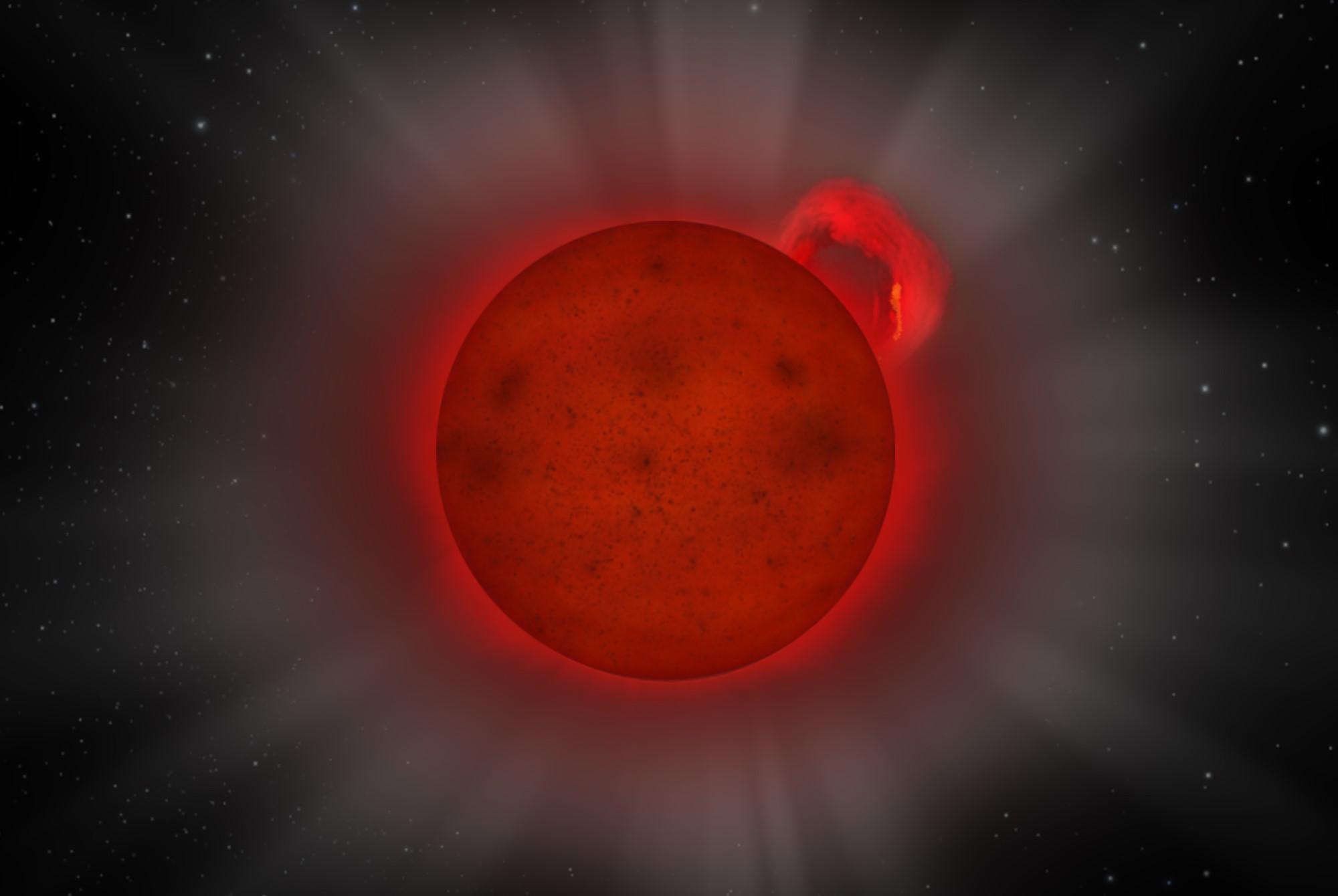 Selv om stjernen J0331-27 bare har 8 prosent av solas masse, har den røntgenutbrudd med 10 ganger mer energi. Illustrasjon: ESA