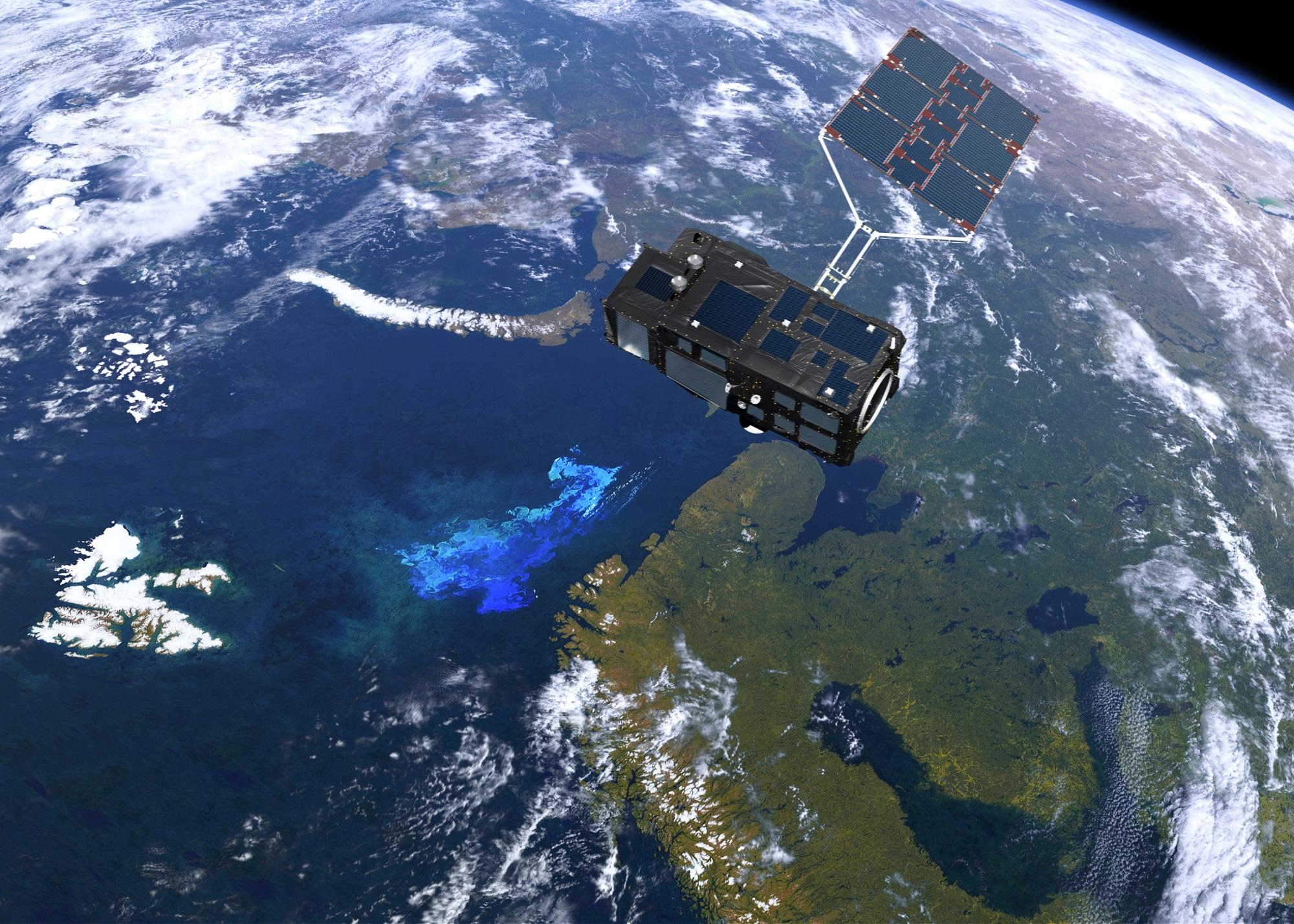 Sentinel-3 måler blant annet temperatur, sirkulasjon, farge, bølgehøyde og fotosyntese i havet. Grafikk: ESA/ATG Medialab