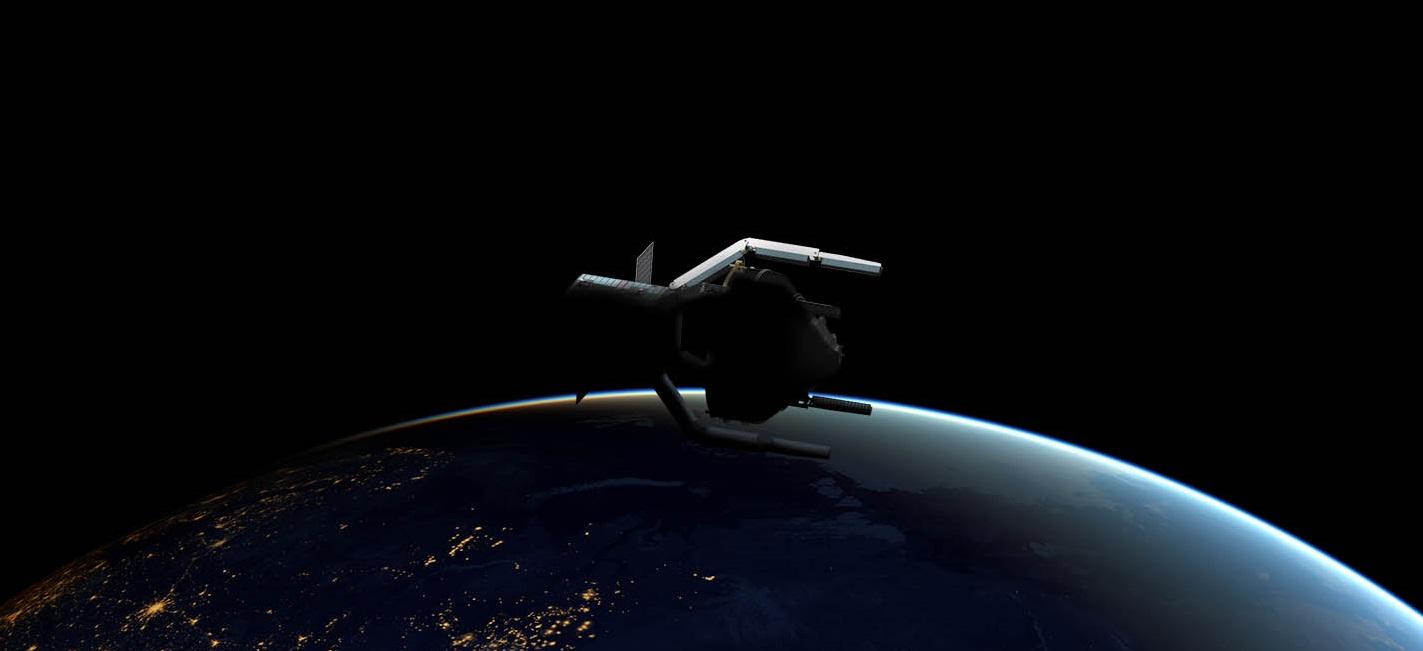 ClearSpace-1 skal fange inn romsøppel med fire robotarmerogbrenne opp i atmosfæren. Illustrasjon: ESA