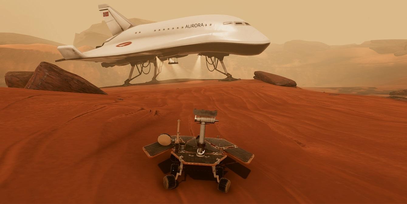 Nye Spaceship Auroras oppdrag heter Reisen Til Mars. Her skal deltakerne styre en rover med norsk georadar. Illustrasjon: NAROM