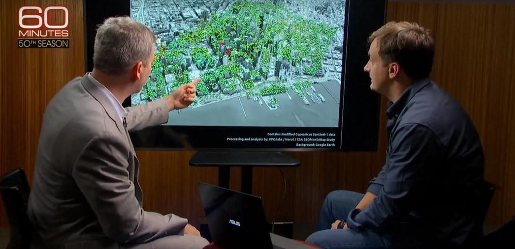 Norsk forskning om nedsynking av skyskraper i San Francisco på det amerikanske TV-programmet 60 Minutes. Foto: Faksimile fra 60 Minutes/CBS