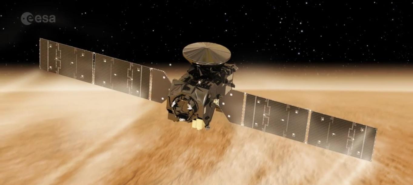 Exomars Trace Gas Orbiter luftbremser seg selv øverst i atmosfæren på Mars.