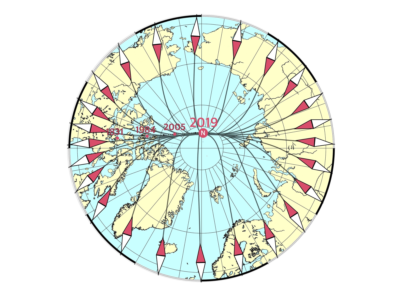 Den magnetiske nordpolen er på vei fra Nord-Canada til Sibir med 55 kilometer i året. Illustrasjon: DTU Space