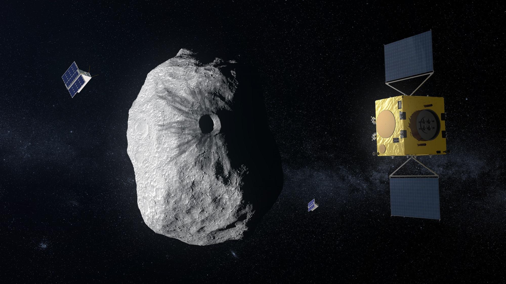 Romsonden Hera (t.h.) tar med seg flere nanosatellitter til asteroiden Didymoon. Illustrasjon: ESA/SpaceOffice.org