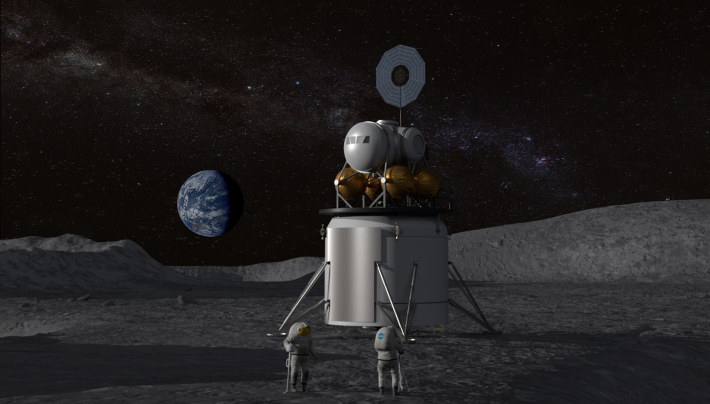 Slik kan et nytt landingsfartøy på månen komme til å se ut. illustrasjon: NASA