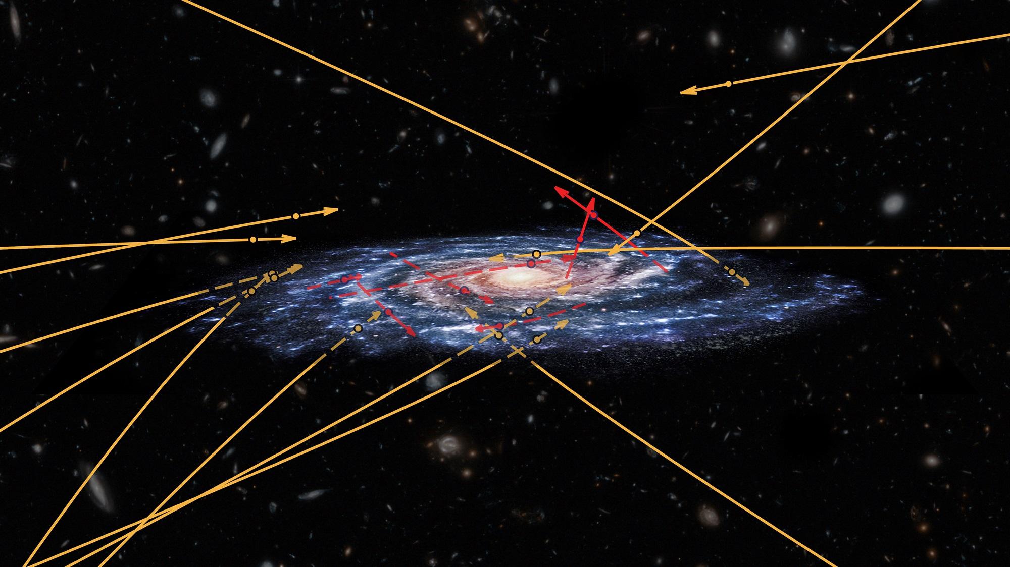 20 stjerner på vei inn (gule) og ut (røde) av Melkeveien sett av romteleskopet Gaia. Bilde: NASA/ESA/Hubble/Marchetti et al 2018