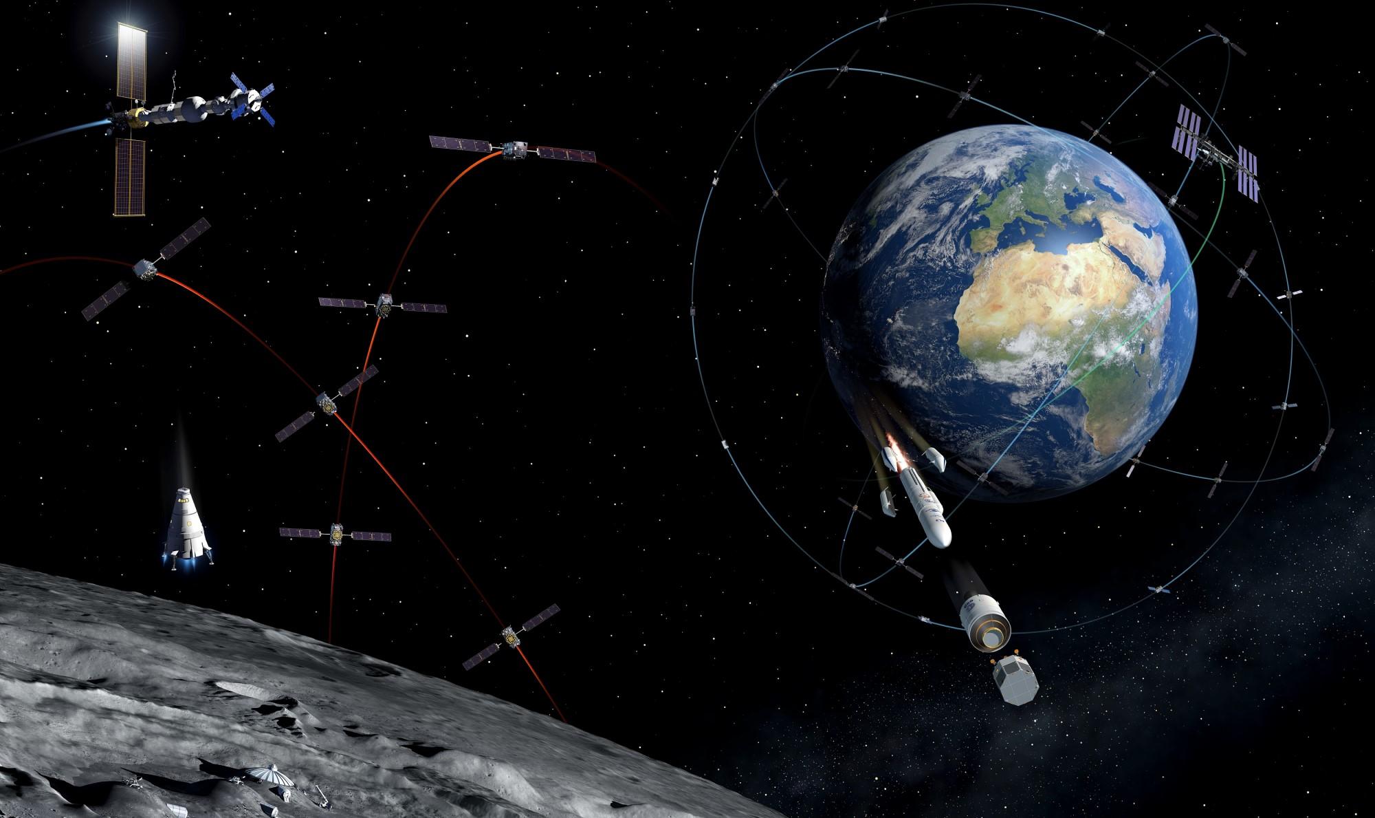 Lunar Pathfinder og Moonlight Initiative skal sørge for navigasjon og kommunikasjon ved månen. Illustrasjon: ESA