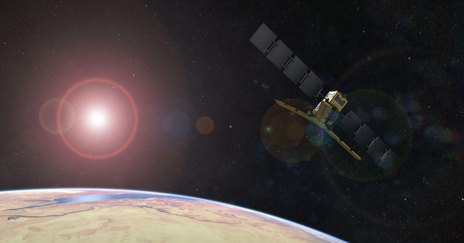 SMOS ser fuktigheten i jordsmonnet og saltholdigheten i havet, men kan også brukes til å varsle om utbrudd på sola og romværet rundt jorda. Illustrasjon: ESA