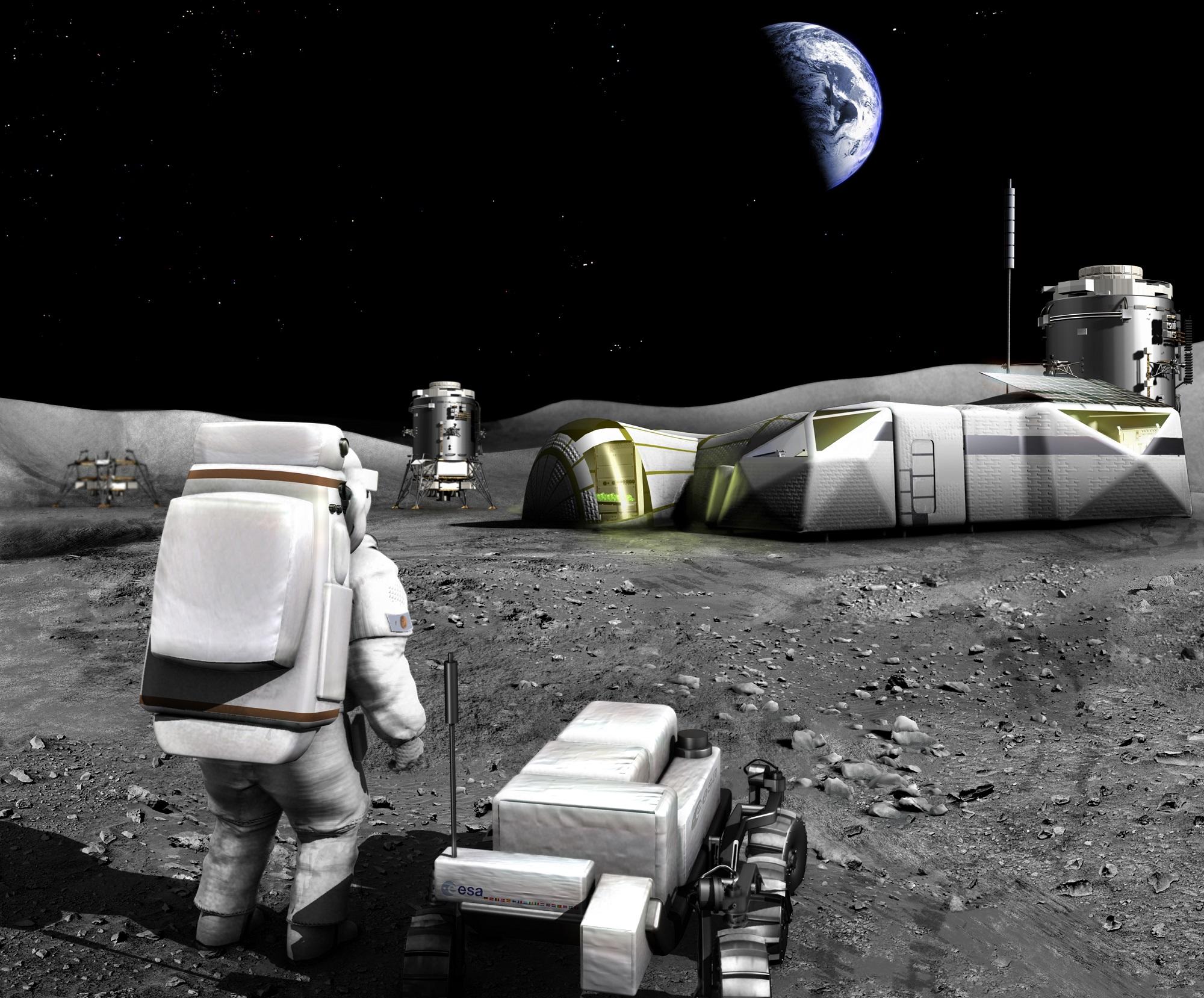 Base på månen. Illustrasjon: ESA