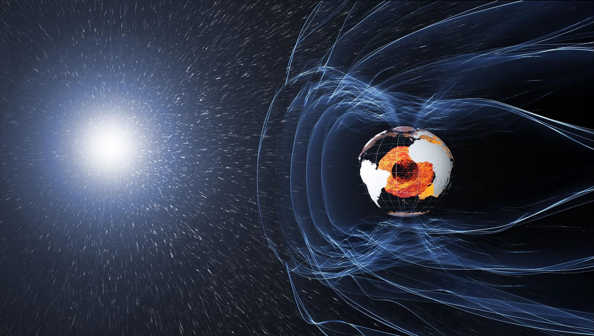 Jordas magnetfelt beskytter mot kosmisk stråling fra galaksen og partikkelstormer fra sola. Illustrasjon: ESA/ATG medialab