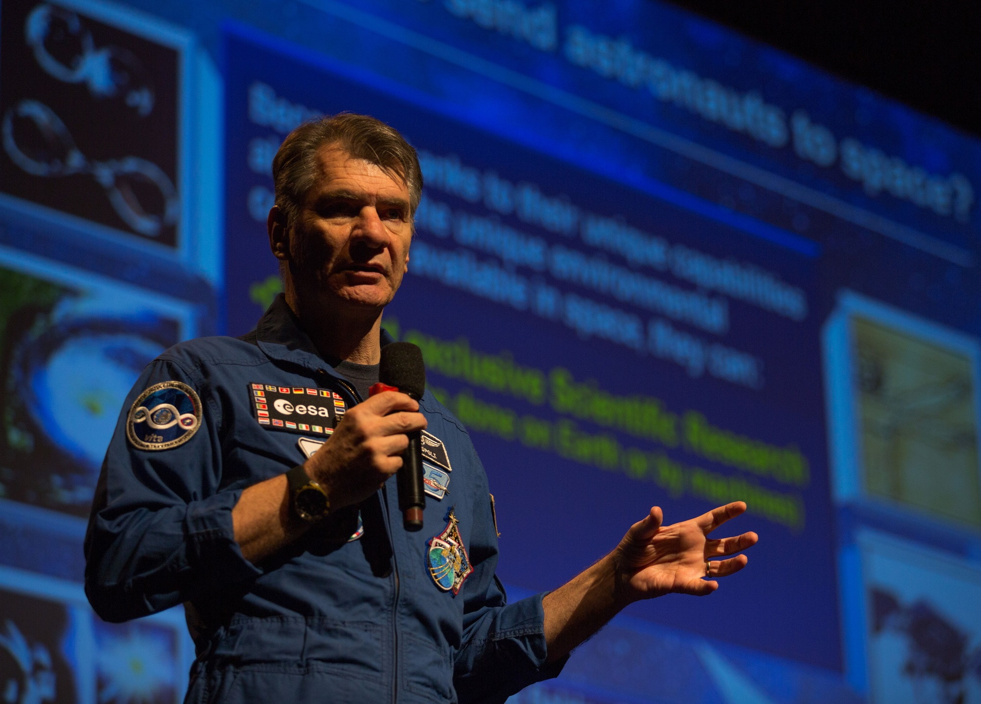Den italienske astronauten Paolo Nespoli på Spaceport Norway 2018. Foto: Spaceport Norway / Andrea Rocha