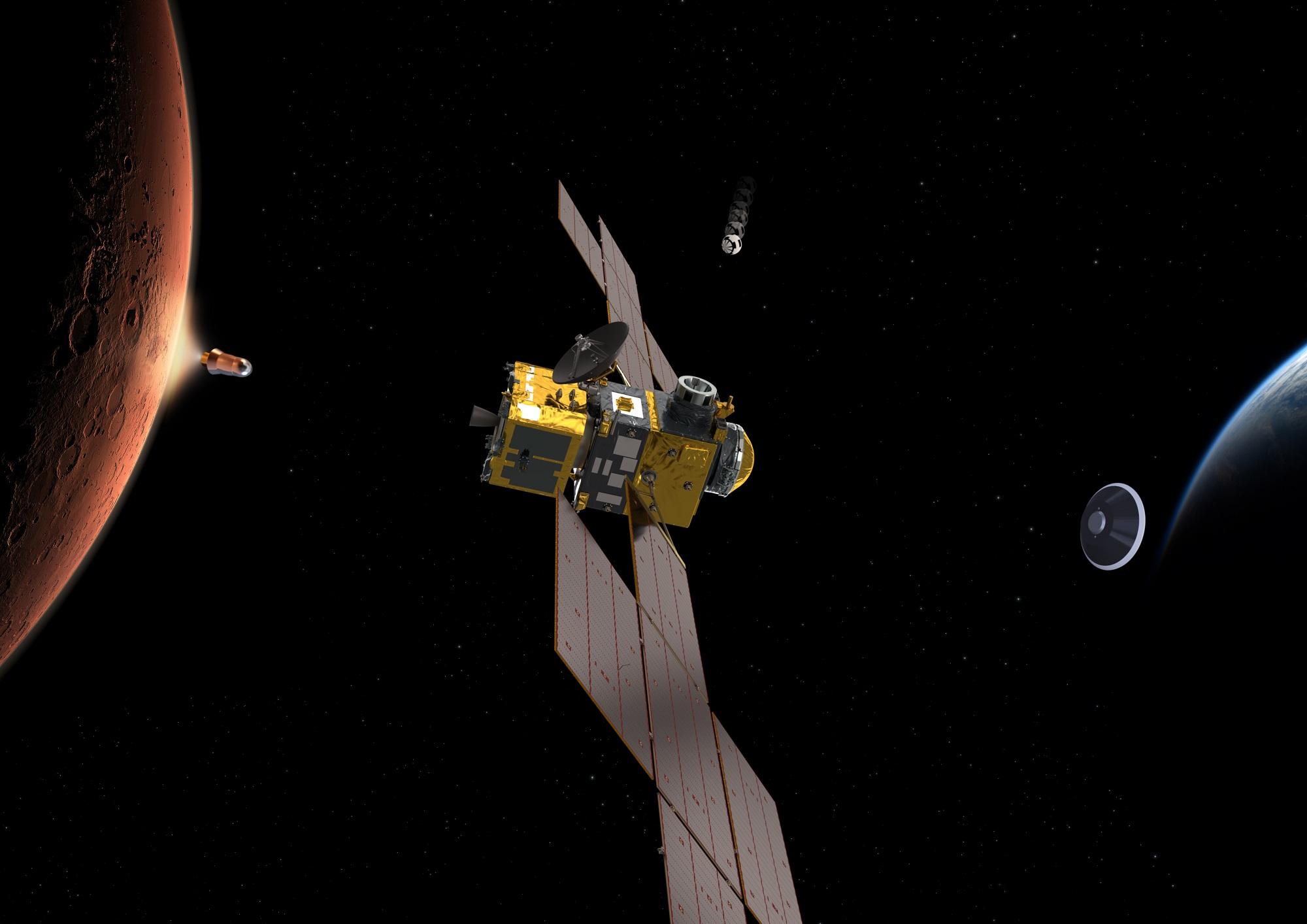 Mars Ascent Vehicle skyter opp prøvene fra Mars (til venstre). Earth Return Orbiter (midten) fanger så inn prøvene i bane rundt vår røde naboplanet, frakter dem til jorda og frigir dem i en landingskapsel (til høyre). Grafikk: ESA/ATG medialab
