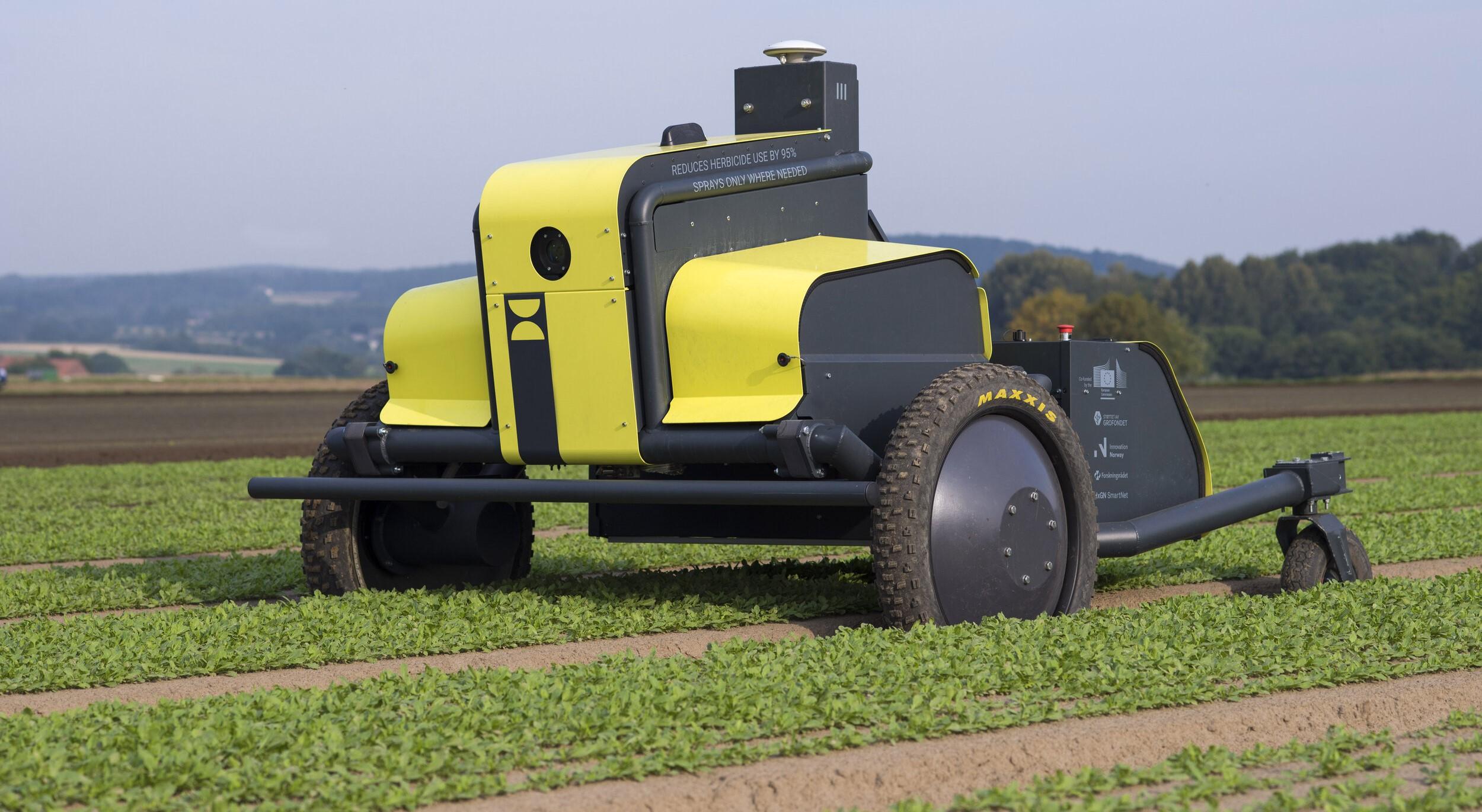Landbruksroboten AX1 fra Kilter reduserer bruken av sprøytemidler med opptil 95 prosent. Foto: Kilter