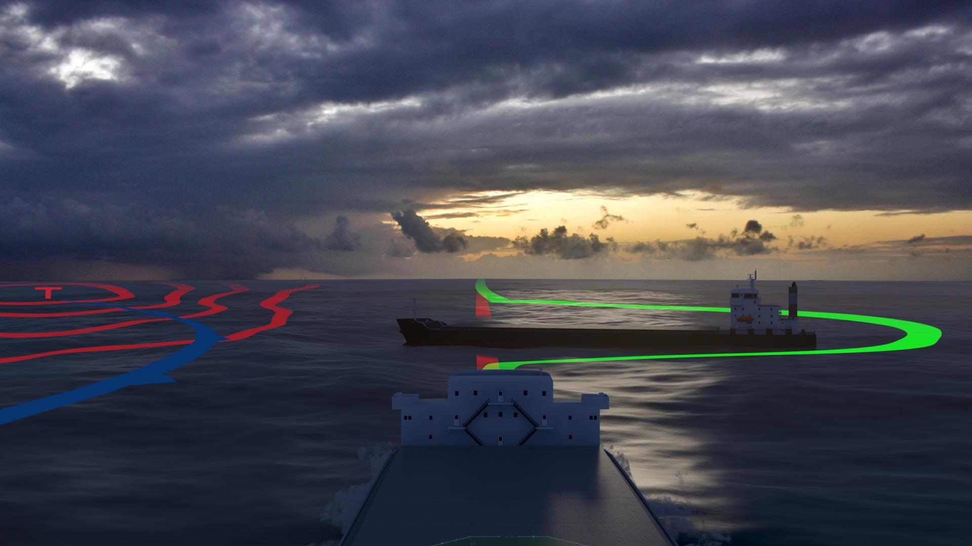 Selvstyrte skip må kunne måle avstanden til og styre unna ulike typer hindringer. Illustrasjon: Fraunhofer CML/MUNIN Project