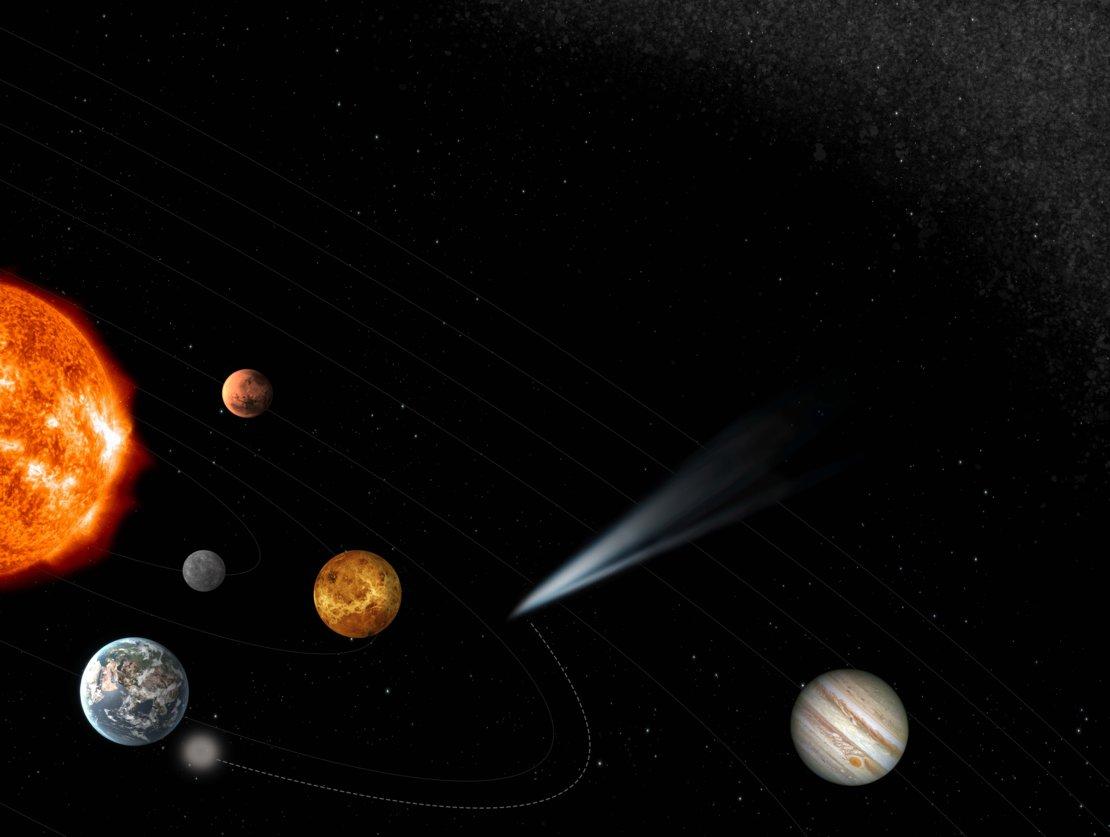 Comet Interceptor (hvitt lys nederst til venstre i bildet) skal undersøke en komet som ikke har vært i solsystemet før. Illustrasjon: ESA