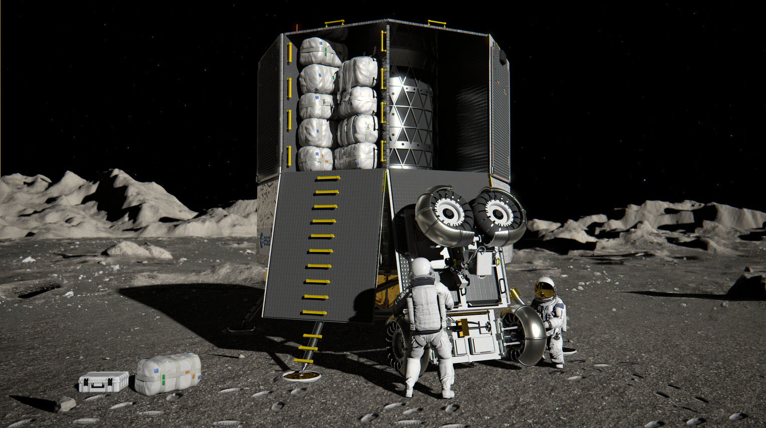 Heracles Large Logistics Lander er et fartøy ESA skal bygge for logistikkoppdrag til månen i fremtiden. Illustrasjon: ESA.