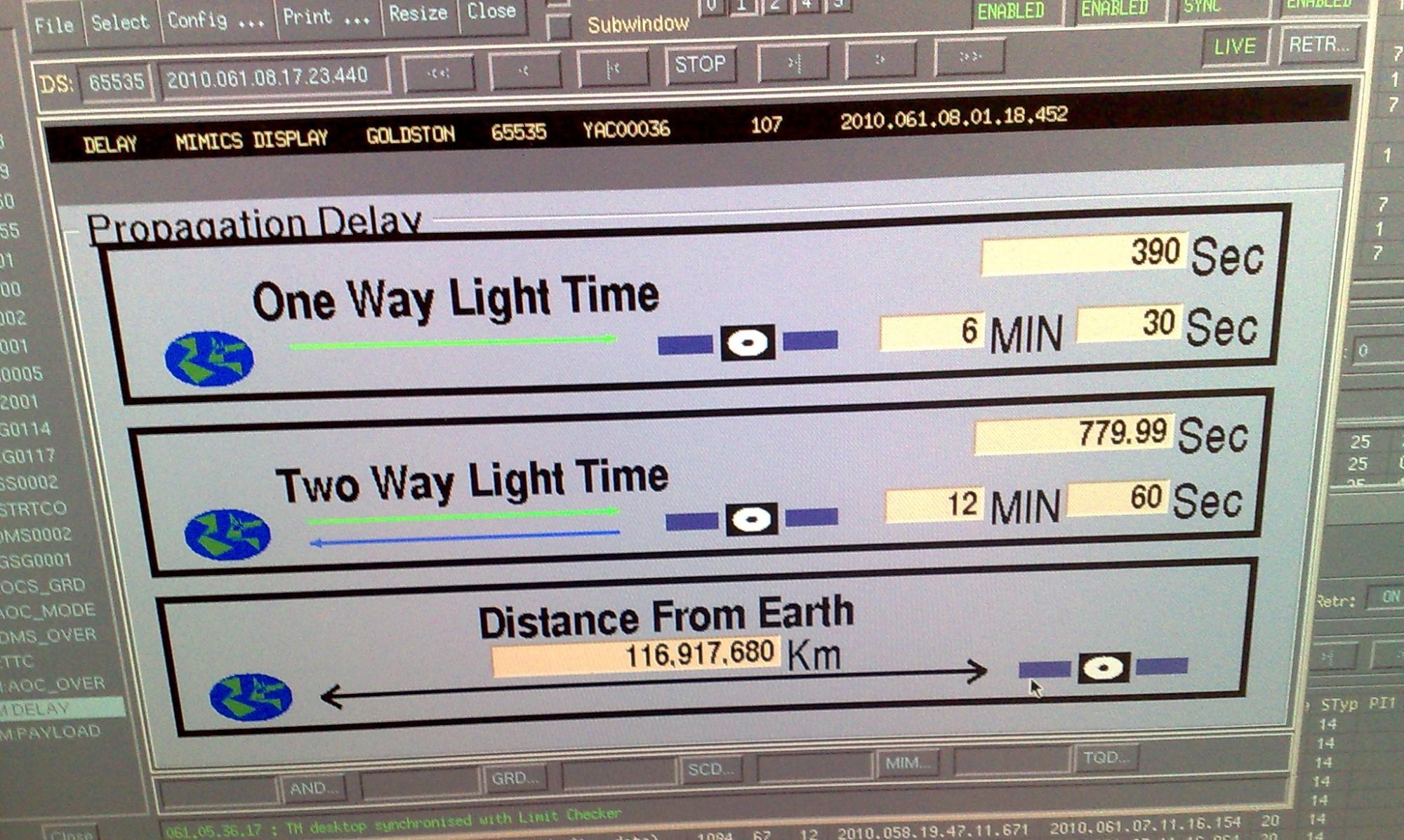 Tidsforskjellen mellom jorda og romsonden Mars Express i en retning (øverst), begge veier (midten), samt avstanden (nederst). Foto: ESA