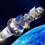 NorSat-2 (markert med rød sirkel) på det øverste trinnet av Sojus-bæreraketten under oppskyting. Illustrasjon: Glavkosmos