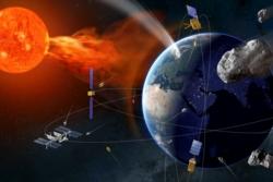 Nærgående asteroider, store utbrudd på sola og romsøppel er de største farene fra rommet. Illustrasjon: ESA