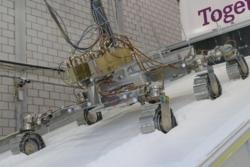 Her testes ESAs Mars-rover Rosalind i dyp sand i en helling. Foto: ESA/N. Vicente