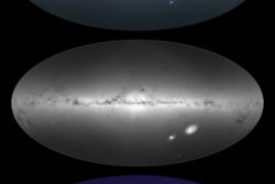 Gaias målinger av lysstyrken og fargen til stjerner i og utenfor Melkeveien (øverst), tettheten til disse stjernene (midten), samt interstellart støv i galaksen (nederst). Foto: ESA/Gaia/DPAC