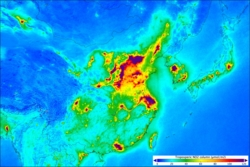 Luftforurensing av nitrogendioksid i Kina og resten av Øst-Asia, målt av Sentinel-5P fra april2018 til mars 2019. Grafikk: Copernicus/KNMI/ESA