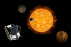 ESAs romteleskop Cheops skal se etter exoplaneter på størrelse med jorda og opp til Saturns størrelse. Illustrasjon: ESA/ATG medialab