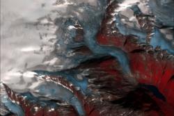 Tuftebreen, Nigardsbreen og deler av Jostedalsbreen sett av Sentinel-2 den27. august 2019. Her vises is i blått, snø i hvitt og vegetasjon i rødt.Foto: Copernicus