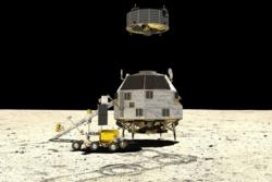 Heracles skal ta prøver fra månens bakside og sende dem til jorda via Gateway. Heracles består av et landingsfartøy, en rover og en oppskytingsmodul. Illustrasjon: ESA