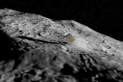 En av Cube-satellittene som Hera har med seg lander på den minste asteroiden i Didymos. Illustrasjon: ESA/ScienceOffice.org