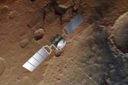 ESAs romsonde Mars Express har forsket i bane rundt Mars siden2003. Grafikk:ESA/ATG medialab/DLR/FU Berlin