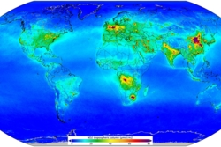 Luftforurensing av nitrogendioksid over hele verden, målt av Sentinel-5P fra april2018 til mars 2019. Grafikk: Copernicus/KNMI/ESA