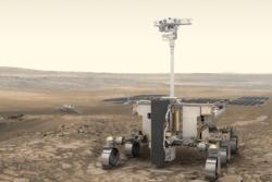 Rosalind, roveren til ExoMars-prosjektet, med landeren Kazachok i bakgrunnen. Illustrasjon: ESA/ATG medialab