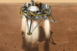 Mars InSight lander på vår røde naboplanet den 26. november 2018. Illustrasjon: NASA/JPL-Caltech