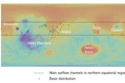 Kart over dype kratre på Mars som har spor etter grunnvann (røde prikker). Grafikk: NASA/MGS/MOLA/F. Salese et al (2019)