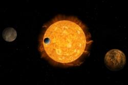 En exoplanetskygger foran stjernen sin. Slik oppdages de fleste exoplanetene. Illustrasjon: ESA/ATG medialab