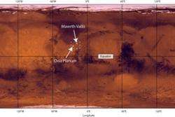 Oxia Planum ligger på cirka 20 grader nord på Mars. Her finnes mange geologiske spor etter flytende vann. Foto: NASA/JPL/USGS