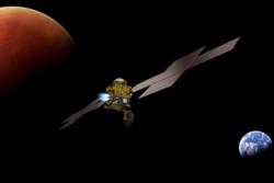 Earth Return Orbiter setter kursen mot jorda etter å ha fanget inn kapselen med prøver fra Mars. Illustrasjon: ESA/ATG medialab
