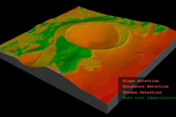 Kart av krater på månen som viser hvor det er trygt for en romsonde å lande. Grafikk: ESA