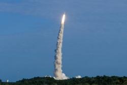 """De fire """"siste"""" satellittene i navigasjonssystemet Galileo farer til himmels fra Kourou 25. juli 2018. Foto: Norsk Romsenter"""