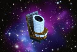 Romteleskopet Euclid skal kartlegge universet i stor skala for å undersøke blant annet mørk materie og mørk energi. Norske forskere er med. Illustrasjon:ESA/ATG medialab/NASA/CXC/Univ. of Hawaii/IfA/STScI