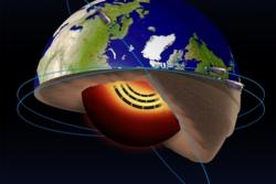 """En """"jetstrøm"""" av flytende jern 3000 kilometer nede i jordas indre skaper magnetfeltet som ESAs forskningssatellitter Swarm undersøker. Grafikk: ESA"""