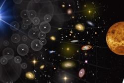Gammaglimt (t.v.), galakser (midten) og Venus (ø.t.h.).