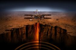 NASAs nye landingssonde, Mars InSight, skal undersøke det indre av vår røde naboplanet. Illustrasjon: NASA/JPL-Caltech