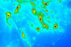 Luftforurensing av nitrogendioksid i Midt-Østen, målt av Sentinel-5P fra april2018 til mars 2019. Grafikk: Copernicus/KNMI/ESA