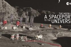 En base på månen som utnytter ressursene derkan bli et viktig steg ut i resten av solsystemet. Illustrasjon: ESA
