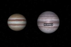 Slik er størrelsen til HD 68988 b sammenliknet med Jupiter. Illustrasjon: NASA