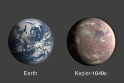 Den jordliknende planeten Kepler-1649c er omtrent like stor som jorda. Illustrasjon: NASA/Ames Research Center/D. Rutter